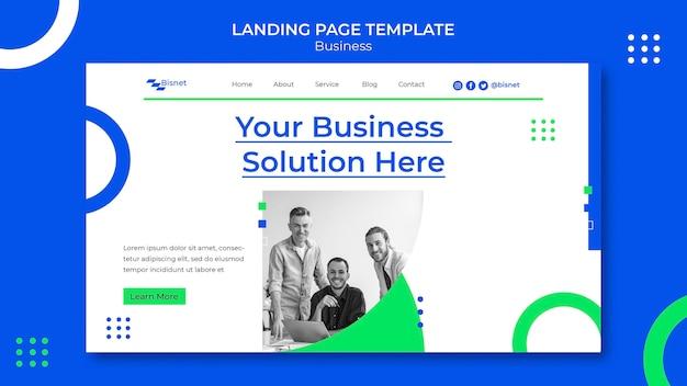 Modello di pagina di destinazione per soluzione aziendale con foto monocromatica