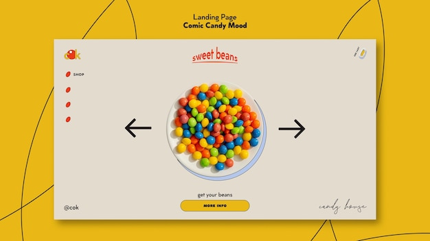 Landing page template for candies in comic style