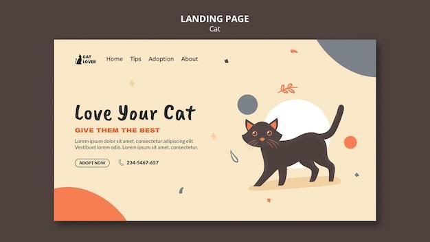 Modello di pagina di destinazione per l'adozione del gatto