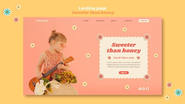 Landing page template for children with flowers