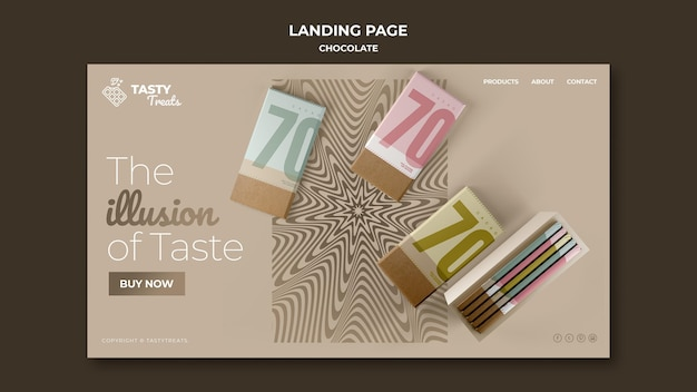 Landing page template for chocolate