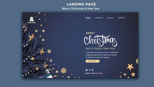 Landing page template for christmas and new year