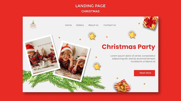 Landing page template for christmas party with children in santa hats