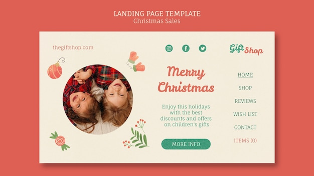 Landing page template for christmas sale with children