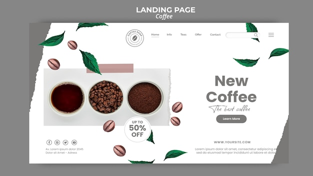 Landing page template for coffee