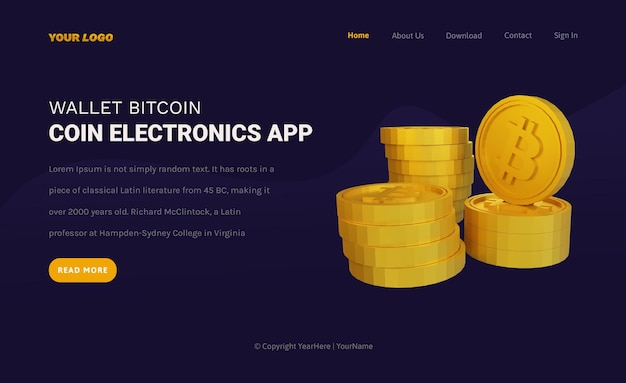Landing page template of coin bitcoin cryptocurrency