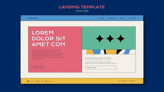 Landing page template in comic style