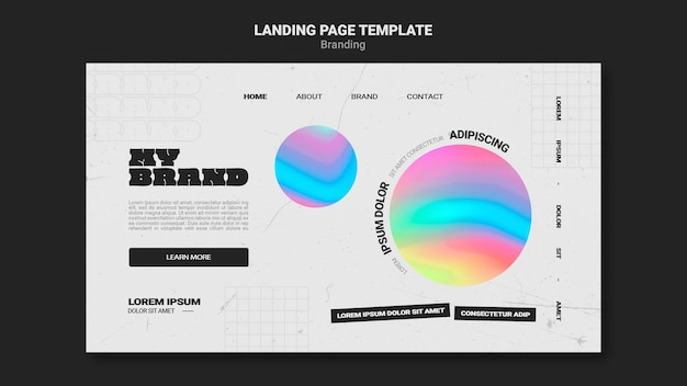 Landing page template for company branding with colorful circle shape