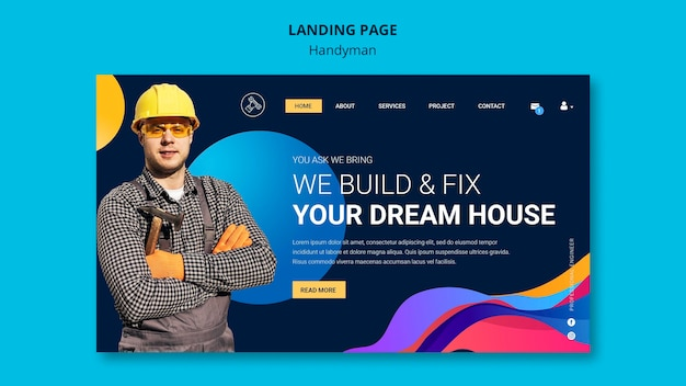 Landing page template for company offering handyman services