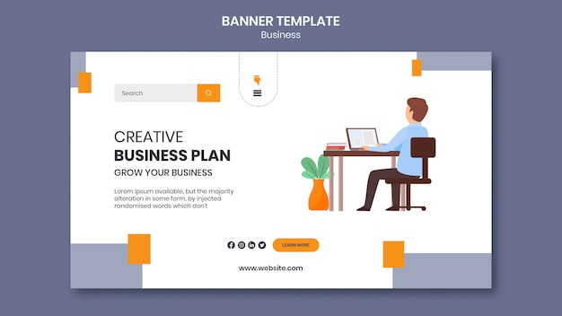 Landing page template for company with creative business plan