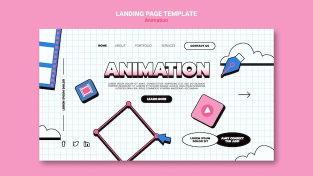 Modello di pagina di destinazione per l'animazione al computer