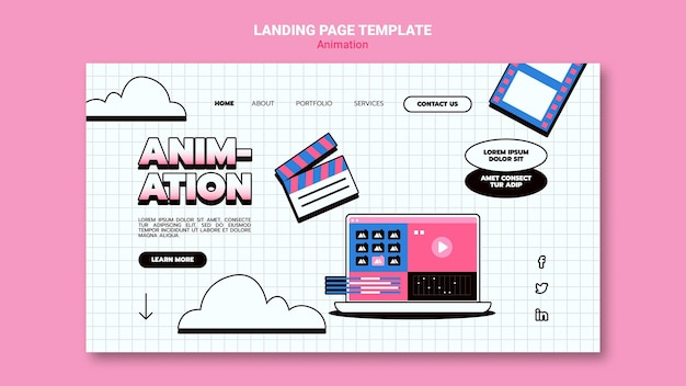Landing page template for computer animation