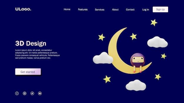 Концепция шаблона целевой страницы с луной и милыми персонажами круглой формы в 3d-дизайне