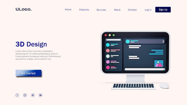 Landing page template concept with computer desktop in 3d design