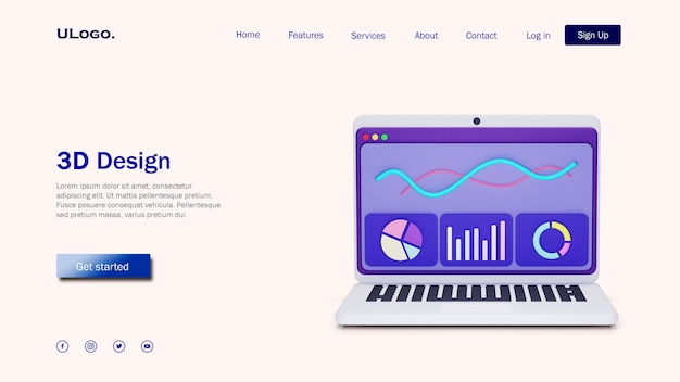 Landing page template concept with laptop in 3d design