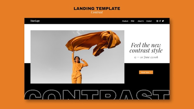 Landing page template for contrasting style