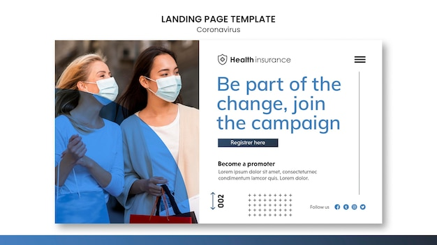 Landing page template for coronavirus pandemic with medical mask