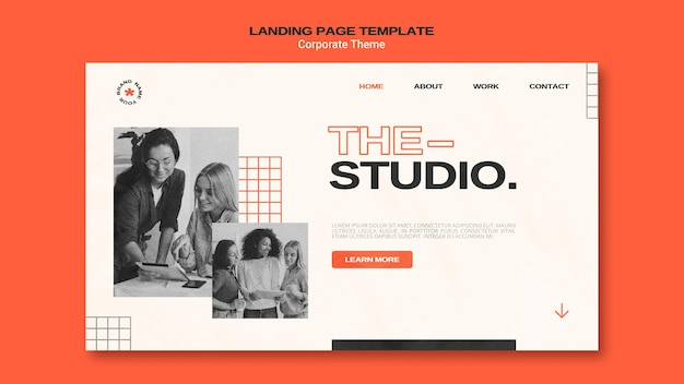 Landing page template for corporate studio