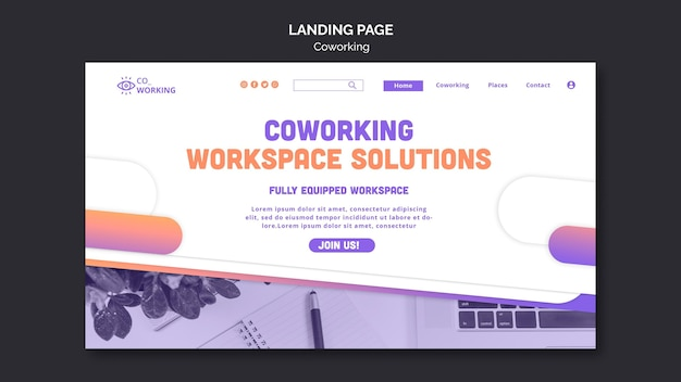 Landing page template for coworking space