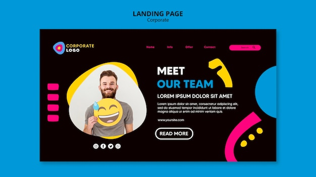 Landing page template for creative corporate team