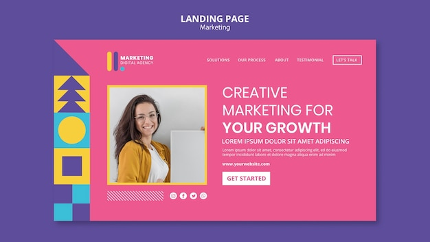 Landing page template for creative marketing agency