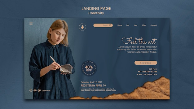 Landing page template for creative pottery workshop with woman
