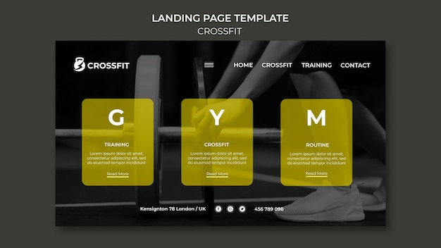Landing page template for crossfit exercise