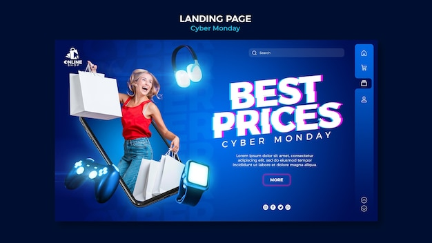 Landing page template for cyber monday with woman and items