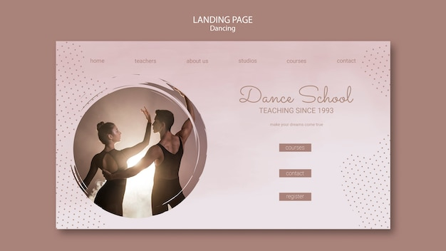 Landing page template for dancing performers