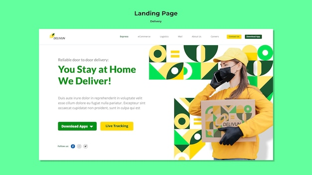 Landing page template for delivery company