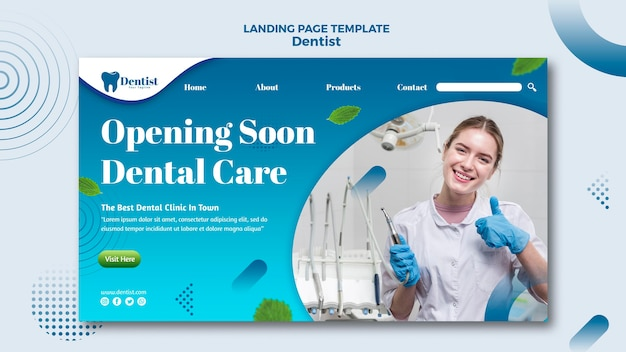 Landing page template for dental care