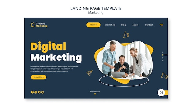 Landing page template design with people working together
