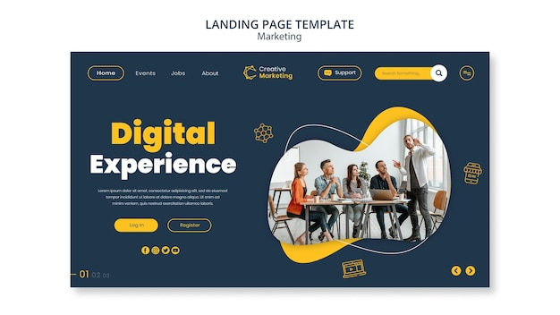 Landing page template design with team brainstorming