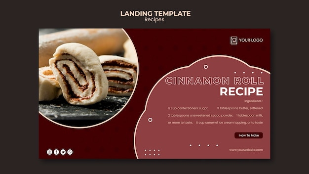 Landing page template dessert recipes