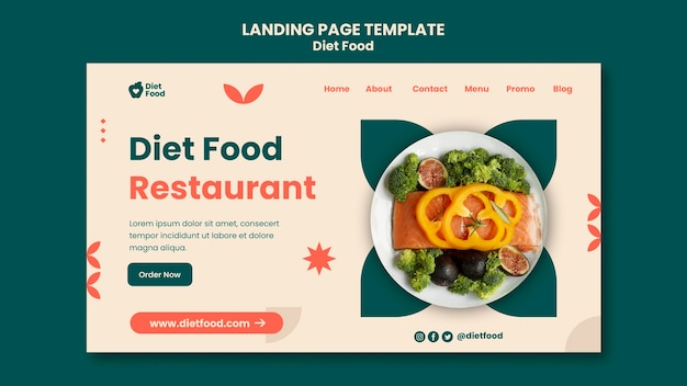 Landing page template for diet food