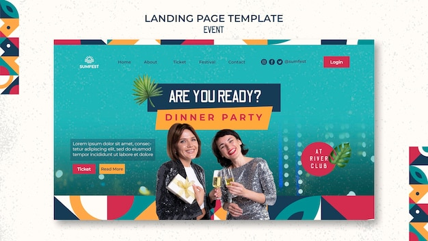 Landing page template for dinner party