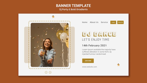Landing page template for dj party with woman and balloons