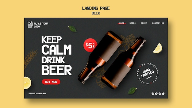 Landing page template for drinking beer