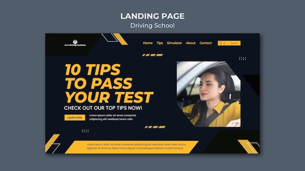 Landing page template for driving school with female driver