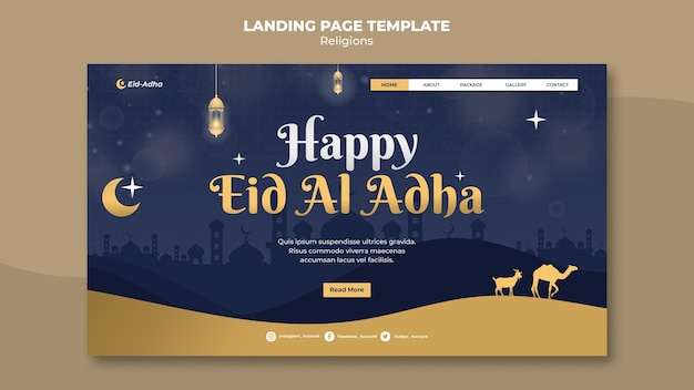 Landing page template for eid al adha celebration