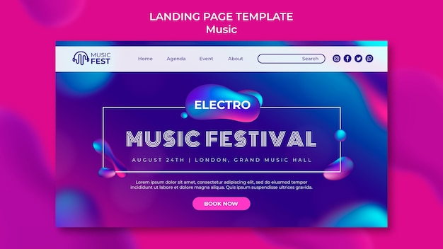 Landing page template for electro music festival with neon liquid effect shapes