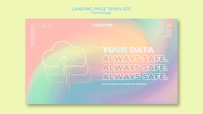 Landing page template for electronic technology