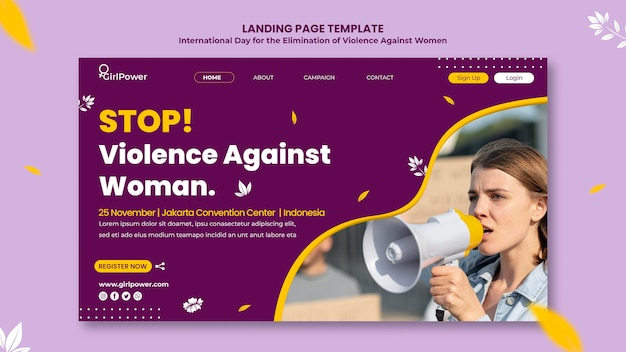 Landing page template for elimination of violence against women