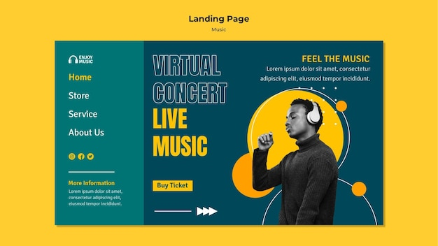 Landing page template for enjoying music