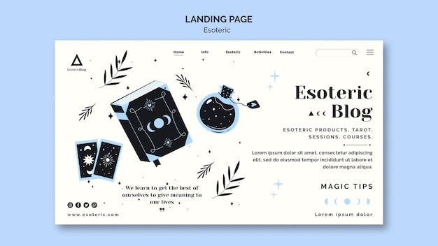 Landing page template for esoteric blog