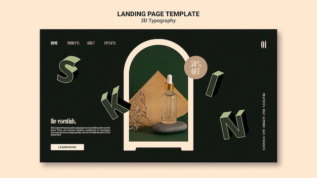 Landing page template for essential oil bottle display with three-dimensional letters