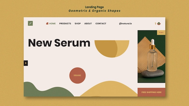 Landing page template for essential oil bottle podium with geometric shapes