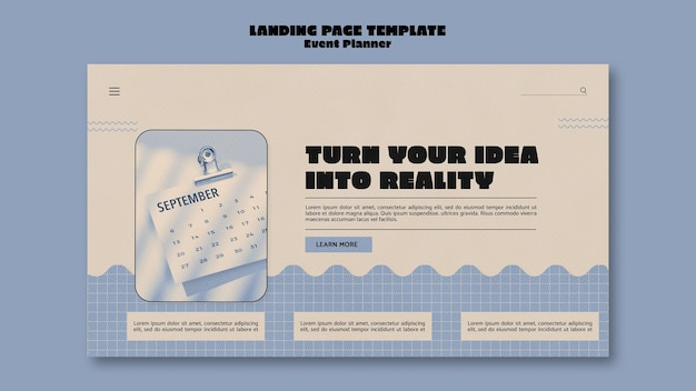 Landing page template for event planner