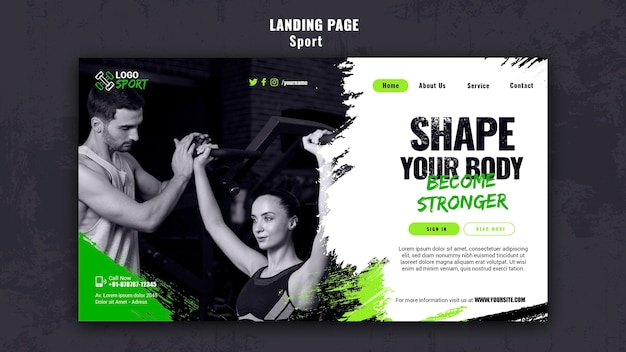 Landing page template for exercise and gym training