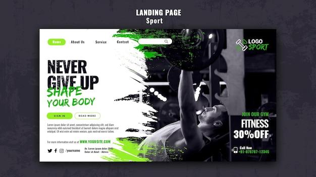 Modello di pagina di destinazione per l'esercizio fisico e l'allenamento in palestra